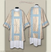 DS-BRO-GH WHITE GOLD/BLUE SEMI-GOTHIC DALMATIC Marian design