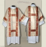 DS-BRO-GT2 WHITE GOLD/RED SEMI-GOTHIC DALMATIC
