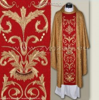 OG8-HM-2 IHS DARK GOLD/RED BROCADE GOTHIC CHASUBLE
