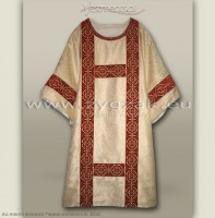 DS-BRO-GH WHITE GOLD/RED SEMI-GOTHIC DALMATIC
