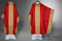 OM-GBRO-1 MONASTIC STYLE CHASUBLE - RED/DARK GOLD
