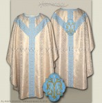 OS-BRO-GH MAR WHITE GOLD/BLUE SEMI-GOTHIC LOW MASS SET Marian design