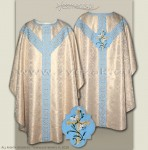 OS-BRO-GH LIL WHITE GOLD/BLUE SEMI-GOTHIC LOW MASS SET Marian design