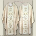 OG-HR-IHS-10 WHITE/GOLD GOTHIC STYLE CHASUBLE
