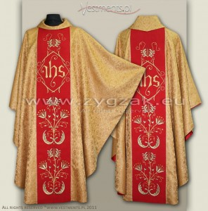 OG-HR-IHS-10 RED/GOLD GOTHIC STYLE CHASUBLE